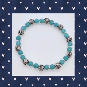 Turquoise and Antique Silver Scroll Bracelet